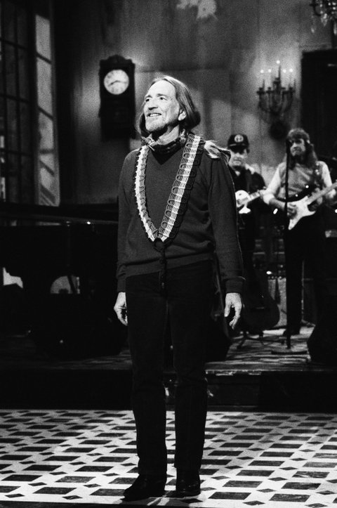 Willie Nelson delivers the opening monologue as host of Saturday Night Live on Feb. 21, 1987.