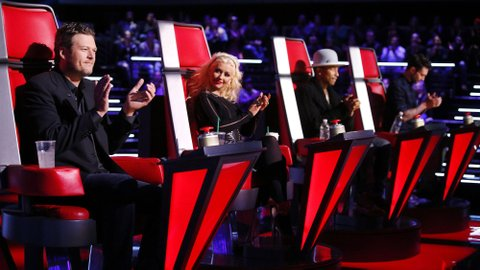 Blake Shelton (left), Christina Aguilera, Pharrell Williams and Adam Levine