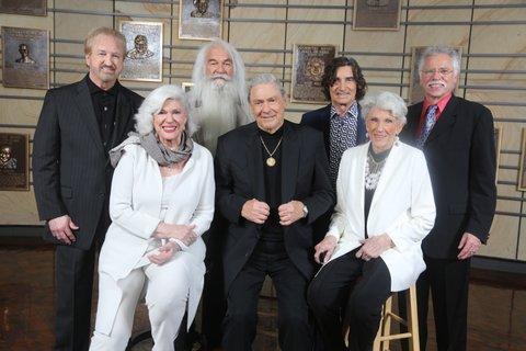 Bonnie (right front), Jim Ed and Maxine Brown, the Oak Ridge Boys (back)