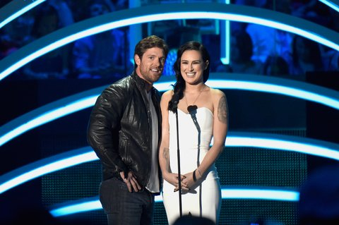 Noah Galloway, Rumer Willis present at the 2015 CMT Music Awards on June 10, 2015, in Nashville.