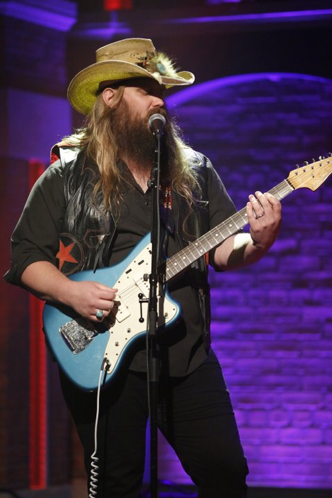 LATE NIGHT WITH SETH MEYERS -- Episode 249 -- Pictured: Musical guest Chris Stapleton performs on August 18, 2015 -- (Photo by: Lloyd Bishop/NBC/NBCU Photo Bank via Getty Images)
