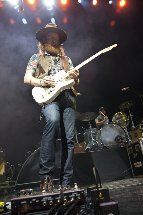 CHARLOTTE, NC - AUGUST 29: Guitarist John Osborne of Brothers Osborne performs at PNC Music Pavilion on August 29, 2015 in Charlotte, North Carolina. (Photo by Jeff Hahne/Getty Images)