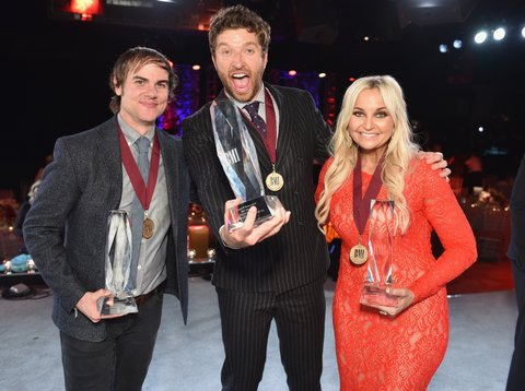 Ross Copperman (left), Brett Eldredge and Heather Morgan onstage during the BMI 2015 Country Awards at BMI on November 3, 2015 in Nashville, Tennessee.