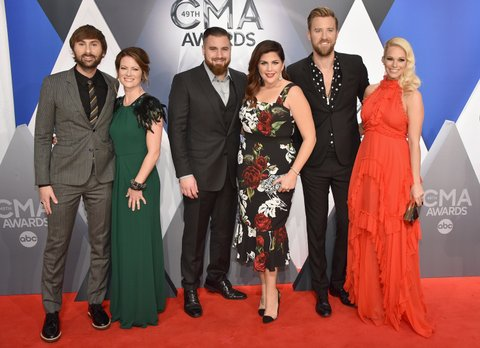 NASHVILLE, TN - NOVEMBER 04:  (L-R) Dave Haywood, Kelli Cashiola, Chris Tyrrell, Hillary Scott, Charles Kelley, and Cassie McConnell attend the 49th annual CMA Awards at the Bridgestone Arena on November 4, 2015 in Nashville, Tennessee.  (Photo by John Shearer/WireImage)