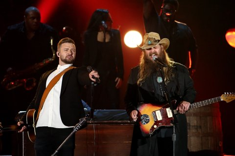 Justin Timberlake and Chris Stapleton perform onstage at the 49th annual CMA Awards at the Bridgestone Arena on November 4, 2015 in Nashville, Tennessee.