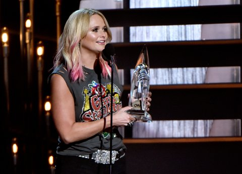 NASHVILLE, TN - NOVEMBER 04:  Singer Miranda Lambert accepts the Female Voalist of the Year award onstage at the 49th annual CMA Awards at the Bridgestone Arena on November 4, 2015 in Nashville, Tennessee.  (Photo by Frederick Breedon/FilmMagic)