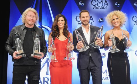 NASHVILLE, TN - NOVEMBER 04:  Little Big Town poses in the press room at the 49th annual CMA Awards at the Bridgestone Arena on November 4, 2015 in Nashville, Tennessee.  (Photo by Jon Kopaloff/FilmMagic)