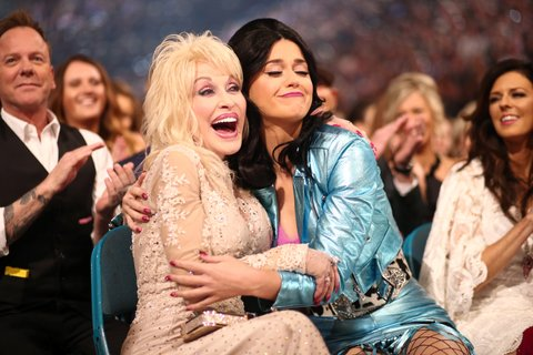 LAS VEGAS, NEVADA - APRIL 03:  Singer-songwriters Dolly Parton (L) and Katy Perry attend the 51st Academy of Country Music Awards at MGM Grand Garden Arena on April 3, 2016 in Las Vegas, Nevada.  (Photo by Christopher Polk/ACM2016/Getty Images for dcp)