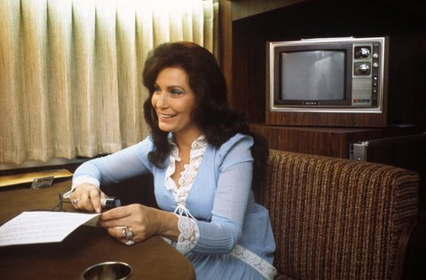 Country music singer and songwriter Loretta Lynn on her tour bus before a show on May 1, 1976 in Rochester, New York.