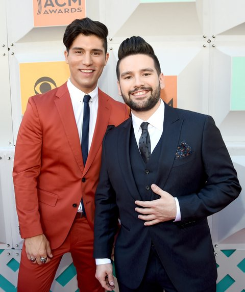 LAS VEGAS, NEVADA - APRIL 03: Recording artists Dan Smyers (L) and Shay Mooney of music group Dan + Shay attend the 51st Academy of Country Music Awards at MGM Grand Garden Arena on April 3, 2016 in Las Vegas, Nevada.
