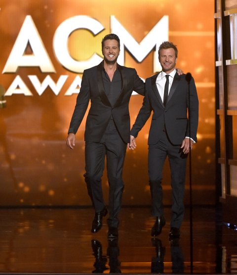 LAS VEGAS, NEVADA - APRIL 03: Co-hosts Luke Bryan (L) and Dierks Bentley speak onstage during the 51st Academy of Country Music Awards at MGM Grand Garden Arena on April 3, 2016 in Las Vegas, Nevada. (Photo by Ethan Miller/Getty Images)