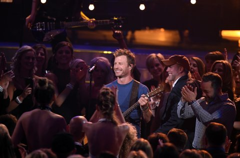 LAS VEGAS, NEVADA - APRIL 03: Co-host Dierks Bentley (C) performs during the 51st Academy of Country Music Awards at MGM Grand Garden Arena on April 3, 2016 in Las Vegas, Nevada. (Photo by Ethan Miller/Getty Images)