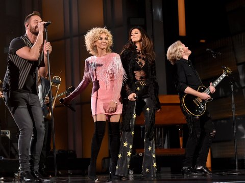LAS VEGAS, NEVADA - APRIL 03: (L-R) Jimi Westbrook, Karen Fairchild, Kimberly Schlapman and Philip Sweet of Little Big Town perform onstage during the 51st Academy of Country Music Awards at MGM Grand Garden Arena on April 3, 2016 in Las Vegas, Nevada.
