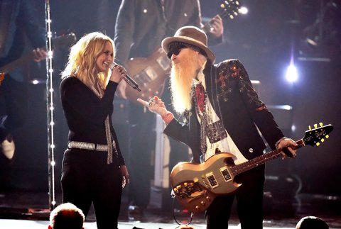 LAS VEGAS, NEVADA - APRIL 03: Recording artists Miranda Lambert (L) and Billy Gibbons perform onstage during the 51st Academy of Country Music Awards at MGM Grand Garden Arena on April 3, 2016 in Las Vegas, Nevada.