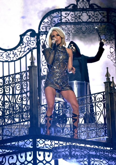 LAS VEGAS, NEVADA - APRIL 03: Recording artist Carrie Underwood performs onstage during the 51st Academy of Country Music Awards at MGM Grand Garden Arena on April 3, 2016 in Las Vegas, Nevada. (Photo by Kevin Winter/ACM2016/Getty Images for dcp)