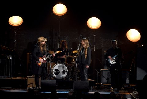 LAS VEGAS, NEVADA - APRIL 03: Recording artists Chris Stapleton (L) and Morgane Stapleton perform onstage during the 51st Academy of Country Music Awards at MGM Grand Garden Arena on April 3, 2016 in Las Vegas, Nevada.