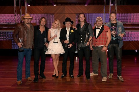 NASHVILLE, TN - DECEMBER 02:  Jason Aldean, Keith Urban, Miranda Lambert, Merle Haggard, Tyler Hubbard of Florida Georgia Line, Larry the Cable Guy, and Brian Kelley of Florida Georiga line attend the 2014 CMT Artists Of The Year at the Schermerhorn Symphony Center on December 2, 2014 in Nashville, Tennessee.  (Photo by Rick Diamond/Getty Images for CMT)