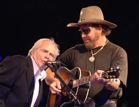 Merle Haggard and Hank Williams Jr. during 54th Annual BMI Country Awards - Show at BMI Offices in Nashville, Tennessee, United States. (Photo by Rick Diamond/WireImage for BMI Nashville)