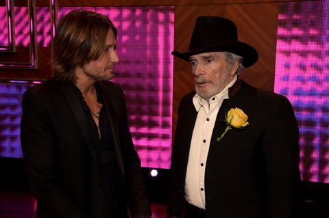 NASHVILLE, TN - DECEMBER 02:  Keith Urban and Merle Haggard attend the 2014 CMT Artists Of The Year at the Schermerhorn Symphony Center on December 2, 2014 in Nashville, Tennessee.  (Photo by Rick Diamond/Getty Images for CMT)