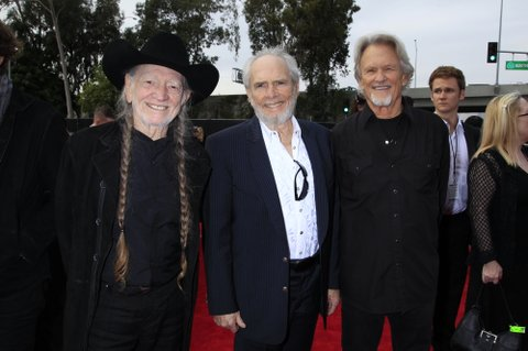 LOS ANGELES - JANUARY 26: Merle Haggard, Willie Nelson, and Kris Kristofferson on the Red Carpet during THE 56TH ANNUAL GRAMMY AWARDS music industry's premier event takes place Sunday, Jan. 26 (8:00-11:30 PM, live ET/delayed PT) at STAPLES Center in Los Angeles on the CBS Television Network.  (Photo by Francis Specker/CBS via Getty Images)