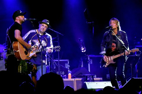 NASHVILLE, TENNESSEE - APRIL 12:  (L-R) Luke Bryan, Vince Gill and Keith Urban perform durring All For The Hall at the Bridgestone Arena on April 12, 2016 in Nashville, Tennessee.  (Photo by Rick Diamond/Getty Images for The Country Music Hall Of Fame & Museum)