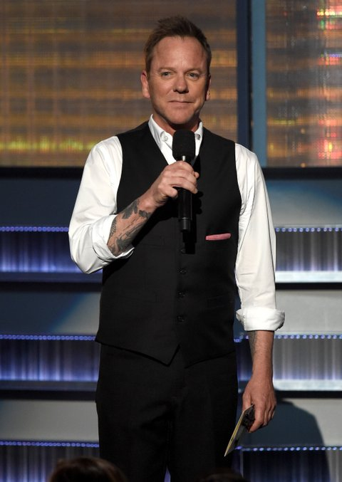 Kiefer Sutherland onstage during the 51st Academy of Country Music Awards at MGM Grand Garden Arena on April 3, 2016 in Las Vegas, Nevada.