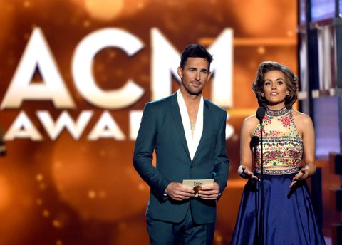 Jake Owen and Miss America Betty Cantrell onstage during the 51st Academy of Country Music Awards at MGM Grand Garden Arena on April 3, 2016 in Las Vegas, Nevada.