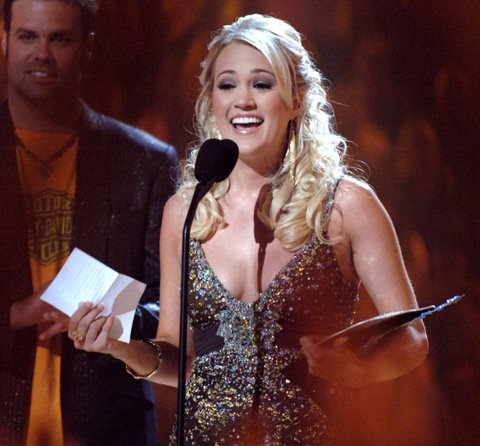 Carrie Underwood, winner Breakthrough Video of the Year for Jesus, Take the Wheel (Photo by Jeff Kravitz/FilmMagic)
