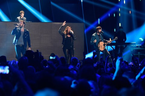 NASHVILLE, TN - JUNE 10: Zedd and (L-R) Charles Kelly, Hillary Scott and Dave Haywood of Lady Antebellum perform onstage onstage during the 2015 CMT Music awards at the Bridgestone Arena on June 10, 2015 in Nashville, Tennessee. (Photo by Kevin Mazur/WireImage)