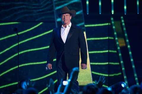 NASHVILLE, TN - JUNE 10: Arnold Schwarzenegger speaks onstage during the 2015 CMT Music awards at the Bridgestone Arena on June 10, 2015 in Nashville, Tennessee. (Photo by Kevin Mazur/WireImage)