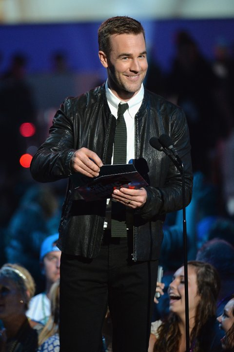 NASHVILLE, TN - JUNE 04: James Van Der Beek speaks onstage during the 2014 CMT Music awards at the Bridgestone Arena on June 4, 2014 in Nashville, Tennessee. (Photo by Mike Coppola/WireImage)