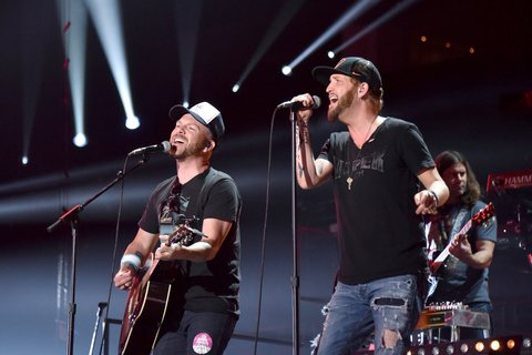 NASHVILLE, TN - JUNE 06:  Preston Brust and Chris Lucas of musical group LoCash perform onstage during the 2016 CMT Music Awards - Rehearsals Day 1 at Bridgestone Arena on June 6, 2016 in Nashville, Tennessee.  (Photo by Mike Coppola/Getty Images for CMT)
