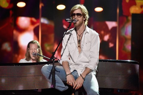 NASHVILLE, TN - JUNE 07:  Tyler Hubbard (L) and Brian Kelley of Florida Georgia Line, perform on stage during rehearsals at Bridgestone Arena on June 7, 2016 in Nashville, Tennessee.  (Photo by Mike Coppola/Getty Images for CMT)