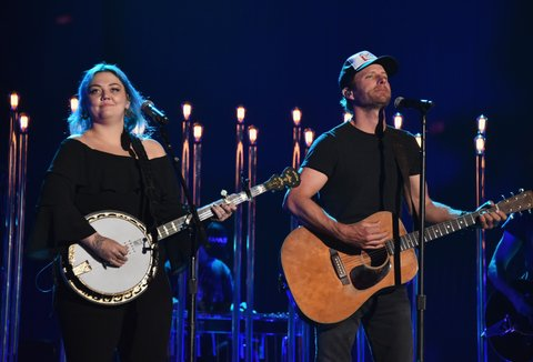 NASHVILLE, TN - JUNE 07:  Singers Elle King (L) and Dierks Bentley perform on stage during rehearsals at Bridgestone Arena on June 7, 2016 in Nashville, Tennessee.  (Photo by Mike Coppola/Getty Images for CMT)