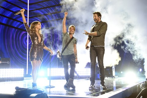 NASHVILLE, TN - JUNE 08: (L-R) Maren Morris, Keith Urban and Brett Eldredge perform onstage during the 2016 CMT Music awards at the Bridgestone Arena on June 8, 2016 in Nashville, Tennessee. (Photo by Kevin Mazur/WireImage)