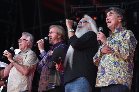 NASHVILLE, TN - JUNE 09:  (L-R) Joe Bonsall, Duane Allen, William Lee Golden, and Richard Sterban of the Oak Ridge Boys perform the National Anthem onstage during 2016 CMA Festival - Day 1 at Nissan Stadium on June 9, 2016 in Nashville, Tennessee.  (Photo by Rick Diamond/Getty Images)