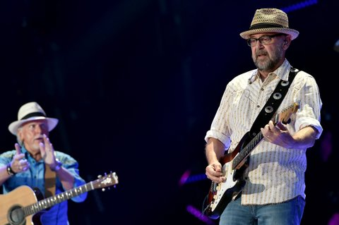 NASHVILLE, TN - JUNE 12:  Musician Les Taylor (L) and Musician J.P. Pennington from the band Exile performs onstage during 2016 CMA Festival - Day 4 at Nissan Stadium on June 12, 2016 in Nashville, Tennessee.  (Photo by John Shearer/Getty Images)