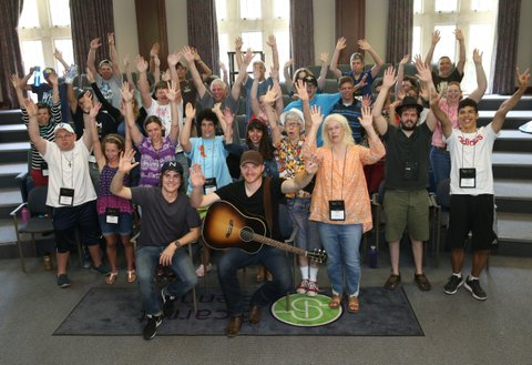 NASHVILLE, TN - JUNE 23:  Singer Eric Paslay and Producer Ross Copperman join ACM campers at the ACM Lifting Lives Music Camp Songwriting Workshop on June 23, 2016 in Nashville, Tennessee.  (Photo by Terry Wyatt/Getty Images for Academy of Country Music)