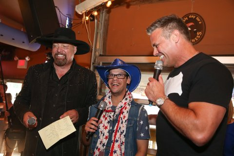 NASHVILLE, TN - JUNE 26:  Eddie Montgomery and Troy Gentry of Montgomery Gentry enjoy karaoke Night with campers during the ACM Lifting Lives Music Camp on June 26, 2016 in Nashville, Tennessee.  (Photo by Terry Wyatt/Getty Images for Academy of Country Music)