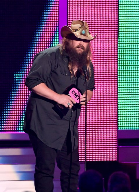 NASHVILLE, TN - JUNE 08: Chris Stapleton accepts an award onstage during the 2016 CMT Music awards at the Bridgestone Arena on June 8, 2016 in Nashville, Tennessee. (Photo by Jason Davis/WireImage)