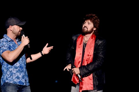 NASHVILLE, TN - JUNE 12: CMT's Cody Alan (L) and singer-songwriter Billy Ray Cyrus speak onstage during 2016 CMA Festival - Day 4 at Nissan Stadium on June 12, 2016 in Nashville, Tennessee.  (Photo by John Shearer/Getty Images)