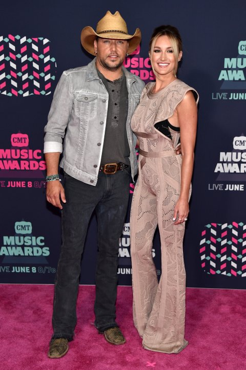 NASHVILLE, TN - JUNE 08: Jason Aldean and Brittany Kerr attend the 2016 CMT Music awards at the Bridgestone Arena on June 8, 2016 in Nashville, Tennessee. (Photo by John Shearer/WireImage)