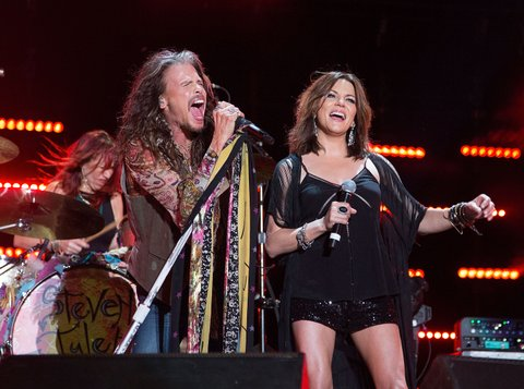 NASHVILLE, TN - JUNE 11:  Steven Tyler performs with Martina McBride during the CMA Fest at Nissan Stadium on June 11, 2016  (Photo by Frederick Breedon IV/WireImage)