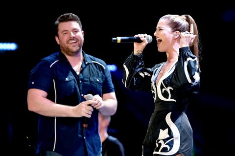 NASHVILLE, TN - JUNE 11:  Singer-songwriters Chris Young and Cassadee Pope perform onstage during 2016 CMA Festival - Day 3 at Nissan Stadium on June 11, 2016 in Nashville, Tennessee.  (Photo by John Shearer/Getty Images)
