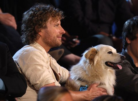 NASHVILLE, TN - JUNE 16: Musician Dierks Bentley and dog Jake during the 2009 CMT Music Awards at the Sommet Center on June 16, 2009 in Nashville, Tennessee.  (Photo by Frederick Breedon/FilmMagic)