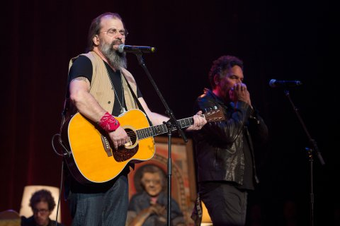 NASHVILLE, TN - AUGUST 16:  Steve Earle (L) and Mickey Rafael perform at Ryman Auditorium on August 16, 2016 in Nashville, Tennessee.  (Photo by Erika Goldring/Getty Images)