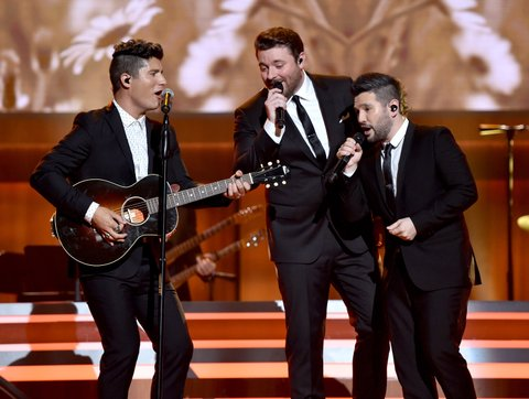 NASHVILLE, TN - AUGUST 30:  Musical artists Dan Smyers from musical group Dan + Shay, Chris Young and Shay Mooney from musicial group Dan+ Shay perform onstage during the 10th Annual ACM Honors at the Ryman Auditorium on August 30, 2016 in Nashville, Tennessee.  (Photo by John Shearer/Getty Images for ACM)