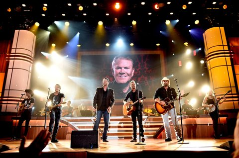 NASHVILLE, TN - AUGUST 30:  Musicial artisits Keith Urban, Blake Shelton, Bierks Bentley and Toby Keith perform onstage during the 10th Annual ACM Honors at the Ryman Auditorium on August 30, 2016 in Nashville, Tennessee.  (Photo by John Shearer/Getty Images for ACM)