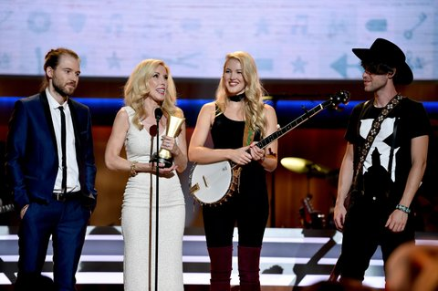 NASHVILLE, TN - AUGUST 30: Cal Campbell, Kimberly Campbell, Ashley Campbell, and Shannon Campbell speak onstage during the 10th Annual ACM Honors at the Ryman Auditorium on August 30, 2016 in Nashville, Tennessee.  (Photo by John Shearer/Getty Images for ACM)
