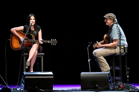 LOS ANGELES, CA - SEPTEMBER 27: Singer Kacey Musgraves and Rock and Roll Hall of Fame membebr James Taylor  perform onstage during All For The Hall Los Angeles A benefit concert presented by The Country Music Hall of Fame And Museum  at The Novo by Microsoft on September 27, 2016 in Los Angeles, California.  (Photo by Mike Windle/Getty Images for Country Music Hall of Fame and Museum)